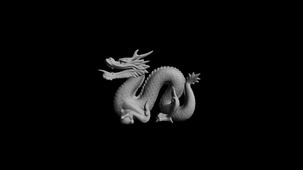 This is a rendering of the dragon model after being passed through Blender. Normals were evaluated at the vertices for interpolation across the face at run time.