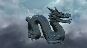 A rendering of a dragon with lighting and environment mapping.