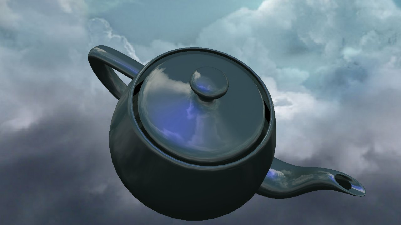 A rendering of a teapot with lighting and environment mapping.