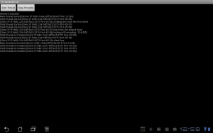 Screen capture of the server application running on an Android tablet.