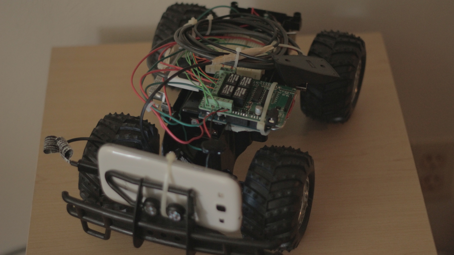 Photo of Arduino-based networked rover.