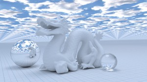 Render of the Dragon model available from the Stanford 3D Scanning Repository.  100,000 triangles.  1,005 samples.