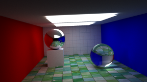 1800 samples. A render illustrating Fresnel reflection and texture mapping.