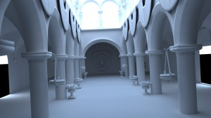 Test render of a stripped down version of the Sponza model (approximately 150,000 triangles). 4,258 samples.